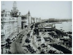 The Bund Shanghai in the 1930s serving as the working harbor of Shanghai.
