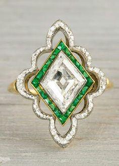Platinum on Gold : Edwardian Diamond && Emerald *swoon* $30k, you know, milk money -_-