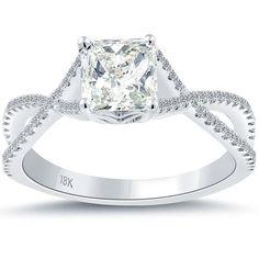 1.23 Carat H-VS2 Certified Radiant Cut Diamond Engagement Ring 18k White Gold #LioriDiamonds #DiamondEngagementRing