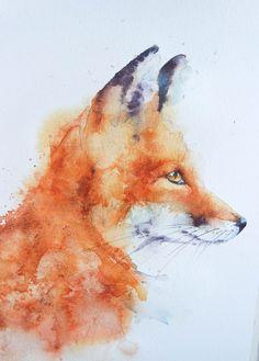 Splishy Splashy Fox – watercolours by rachel Small Paintings, Animal Paintings, Animal Drawings, Art Drawings, Easy Paintings, Landscape Paintings, Fox Painting, Painting & Drawing, Watercolor Animals