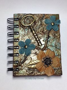 Small Handmade Vintage Stempunk Mixed Media Notebook | CraftyDayDreams - Paper/Books on ArtFire