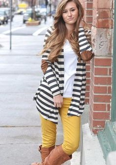 Open Striped Cardigan with Elbow Patch, Mustard Pants, Brown Boots Colored Jeans Outfits, Casual Skirt Outfits, Cardigan Outfits, Fall Outfits, Cute Outfits, Fashion Outfits, Christmas Outfits, Work Outfits, Mustard Jeans