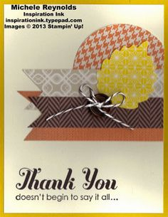 Handmade thank you card using Stampin' Up! Lots of Thanks Set and Thankful Tablescape Simply Created Kit.