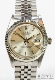 """ROLEX Gents """"Datejust"""", 1970. Stainless Steel / 18K WG. Ref: 1,601th  Automatic Movement, Cal. 1570th Work-No. D 575231st With box and papers, purchase the 1976th Starting Bid: € 1,450.00"""