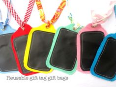 reusable gift tags with chalkboard fabric