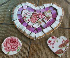 "Mosaic Tiles 3 Focal Set Loose Handcut 6.25"" Pretty Heart Floral Focal Valentines Broken China Pique Assiette 4 Tesserae"