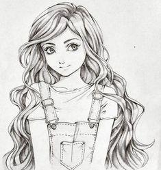Disney Art Drawings Sketches Pencil Hair Ideas – Welcome Girl Drawing Sketches, Art Drawings Sketches Simple, Cute Girl Drawing, Girly Drawings, Cartoon Girl Drawing, Pencil Art Drawings, Cartoon Drawings, Disney Drawings, Pencil Sketch Art