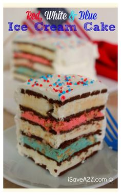 Red White and Blue Ice Cream Sandwich Cake recipe!  This one is PERFECT for Memorial day or even the 4th of July!  The kids get a big kick out of the colors too!  iSaveA2Z.com
