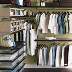 Walnut and Platinum Walk-In Closet System (Elfa)-- Container Store Organizing Walk In Closet, Closet Organization, Kitchen Organization, Elfa Closet System, Container Store Closet, Organiser Son Dressing, No Closet Solutions, Storage Solutions, Walking Closet