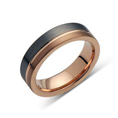 Men Wedding Rings Metal,Gray Brushed,Rose Gold Groove,Tungsten RIng,Wedding Band - Rose Gold Tungsten Carbide Wedding Bands from Luxury Bands LA. Free Laser Engraving with every Handmade Designer Tungsten Wedding Ring and Engagement Band. Gold Diamond Wedding Band, Wedding Ring Bands, Tungsten Carbide Wedding Bands, Engagement Bands, Stainless Steel Rings, Black Rings, Bracelets, Rose Gold, Wedding Ideas