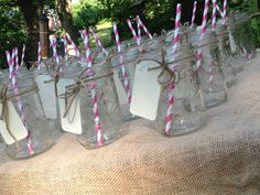 Mason jar drinking glasses for outdoor wedding shower