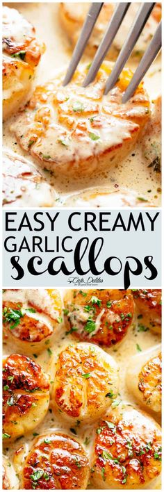 Creamy Garlic Scallops are just as good as restaurant scallops with minimal ingredients and maximum flavour! A silky creamy garlic sauce with a hint of lemon coats crispy buttery scallops! With only a handful of ingredients you're minutes away from hav Fish Recipes, Seafood Recipes, New Recipes, Dinner Recipes, Cooking Recipes, Favorite Recipes, Healthy Recipes, Recipies, Garlic Scallops Recipe