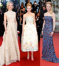 #Cannes festival juror Nicole Kidman hit it out of the park night after night. Some of our fave looks were her in (L-R) #Valentino, #Dior, and L'Wren Scott.