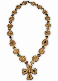 Byzantine Necklace with Cross Pendant  Byzantium, 6th to 7th century C.E.