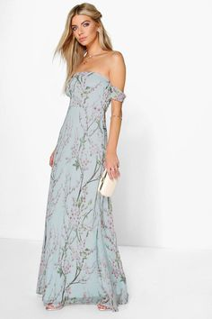 Pin for Later: 28 Easy, Breezy Maxi Dresses That'll See You Through Summer Boohoo Jessica Floral Off The Shoulder Maxi Dress Maxi Dresses Uk, Summer Bridesmaid Dresses, Girls Dresses, Summer Dresses, Formal Dresses, Boohoo Dresses, Floral Bridesmaid Dresses, Holiday Dresses, Summer Clothes