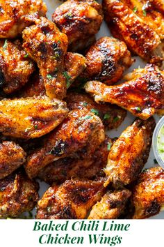 These sweet and spicy chili lime chicken wings are packed with flavor and perfect for parties, appetizers or a fun dinner! These crispy baked chicken wings are paleo with a option to sweeten the sauce, family friendly and a total crowd pleaser. Breaded Chicken Cutlets, Crispy Baked Chicken Wings, Bbq Chicken Wings, Paleo Chicken Recipes, Paleo Recipes, Dinner Recipes, Chicken Flavors, Flour Recipes, Wing Recipes