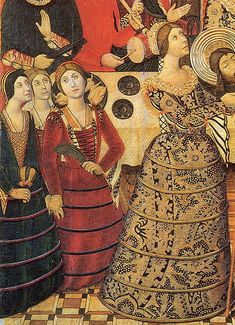 EXCERPT: Catalonian dress of the 1470s. This image is one of the earliest depictions of the verdugada or farthingale, a skirt stiffened with reeds set in casings, that would spread to Italy briefly in the 1480s and '90s,[24] and to France and England in the 16th century. The flaring chemise sleeves of striped or embroidered fabric are uniquely Spanish at this time, but the small cap and wrapped braid of hair are common to both Spain and Italy.