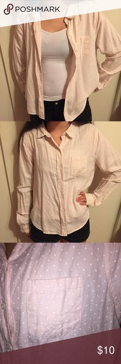 Pink Polkadotted top Pink and white Polkadotted button down long sleeve. Never worn and in great condition. Feel free to ask any questions. Forever 21 Tops Button Down Shirts