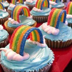Rainbow party cupcakes.  Cute & Easy!