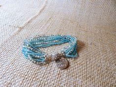Aqua Quote Bracelet 9 rows of seed beads CHOOSE HAPPY Charm Bracelet Magnetic Close