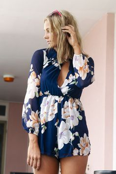 Navy Long Sleeve Floral Romper Unique Style Inspiration Womens Apparel #UNIQUE_WOMENS_FASHION