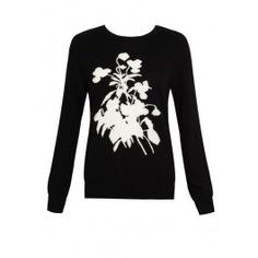Equipment Sloane Crew Knit Flower Intarsia - Black/Ivory #equipment #crewneck #knit #cashmere #winter #flower #print #aw13