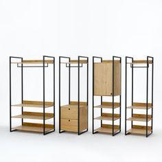 Le grand module penderie + 3 étagères, Hiba. Il offre tous les espaces de rangement: à l'horizontale avec ses 3 étagères de belles dimensions. En hauteur, avec sa barre de penderie pour y suspendre vos vêtements. Se fixe au mur ou s'adapte aux autres modules du dressing Hiba.Descriptif du grand module penderie + 3 étagères Hiba1/2 penderie ouverte avec 1 étagère.1/2 lingère ouverte avec 3 étagères.Caractéristiques du grand module penderie + 3 étagères Hiba:Structure métal noir mat...