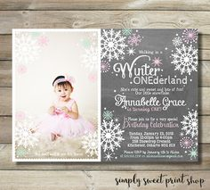 Winter ONEderland Girl Photo Picture Birthday Party Invite Invitation Wonderland One First 1st Pink Mint Chalkboard Chalk Snowflakes Stars