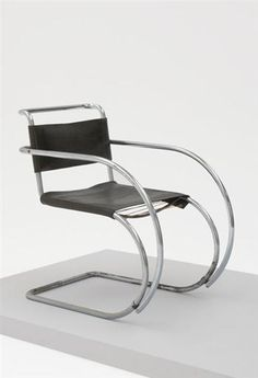 Model no. MR20 armchair, Manufactured by Berliner Metallgewerbe Joseph Müller, Germany. 1929, Literature: Derek E. Ostergard, ed., Bent Wood and Metal Furniture: 1850-1946, exh. cat., The American Federation of Arts, New York, 1987, p275, fig.71 for a similar example / Torsten Bröhan and Thomas Berg, Design Classics 1880-1930, Cologne, 2001, p94 / Bauhaus Furniture A Legend Reviewed, exh. cat., Bauhaus Archiv Museum für Gestaltung, Berlin, 2002, pp306-307