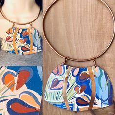 Vintage Tin Tryptic Pop Art Floral Statement Collar Necklace | TTE Designs 10th Wedding Anniversary Gift, Jewelry Art, Jewellery, Art Floral, Collar Necklace, Artisan Jewelry, Pop Art, Tin, My Etsy Shop