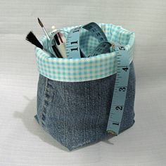 Denim Jeans Fabric Basket TUTORIAL ~ How to make baskets from jeans ~ Threading My Way