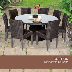 """TKC Rustico 60"""" Outdoor Patio Dining Table With 8 Chairs"""