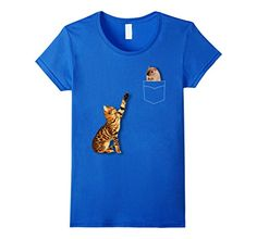 funny cat clothing - Womens Cool Fake Pocket Design Hamster And Cat Funny T-Shirt Large Royal Blue ** Want additional info? Click on the image. (This is an affiliate link) #FunnyCats
