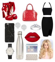 """""""What I wanna look like a on a daily basis"""" by sophg26 ❤ liked on Polyvore featuring Jimmy Choo, Louis Vuitton, Finesque, Belk & Co., S'well, Lime Crime and Anastasia Beverly Hills"""