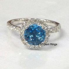 Round Sky Blue Topaz Engagement Ring Pave Diamond Wedding 14K White Gold 7mm…