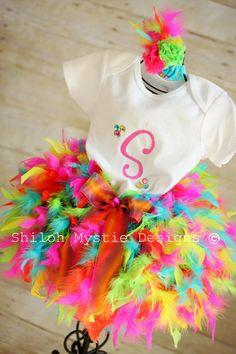 Multi colored Feather tutu-feather tutus-rainbow tutus-boa feather tutus-neon tutus-mulitcolored tutus-rainbow tutus on Etsy, $42.99
