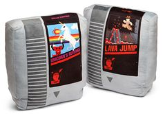 Rest your head on an NES game! These Retro Nintendo Cartridge Pillow Set are great for your game room or geeky living room. You get two NES style pillows