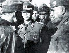 História Militar - O General Falconière (a direita), brasileiro, recebendo a rendição da 148ª Divisão de Infantaria alemã.