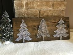 Items similar to Three white trees string art, Christmas decor, wood sign on Etsy Different Christmas Trees, Christmas Tree Themes, Christmas Tree Yarn Art, Diy Christmas Decorations, String Art Templates, String Art Patterns, Nail String Art, String Crafts, Christmas Projects