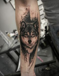 Tattoo Ilya Teuschakov - tattoo's photo In the style Watercolor, Graphics, Male, Wolv Wolf Tattoo Forearm, Tribal Wolf Tattoo, Wolf Tattoo Sleeve, Tribal Sleeve Tattoos, Forearm Tattoo Design, Best Sleeve Tattoos, Tattoo Sleeve Designs, Body Art Tattoos, Wolf Tattoos Men