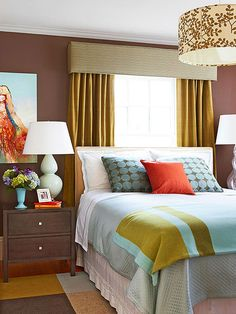 Bedroom window treatments have a lot of work to do! We love these gorgeous mustard drapes: http://www.bhg.com/rooms/bedroom/themes/bedroom-decorating-tips/?socsrc=bhgpin070714bedroomwindowideaspage=6