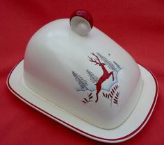 Crown Devon 'Stockholm' Covered Butter/Cheese  Dish