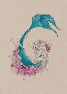 Flower Mermaid Art, Little Mermaid Print, Original Mermaid Painting, Mermay Drawing, Ocean Beach Dec Little Mermaid Painting, Little Mermaid Art, Mermaid Artwork, Mermaid Drawings, Drawings Of Mermaids, Little Mermaid Tattoos, Mermaid Tattoo Designs, Mermaid Paintings, Sirene Tattoo