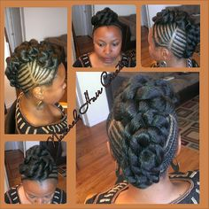 Photo by natural_hair_creations jumbo twists updo cornrows