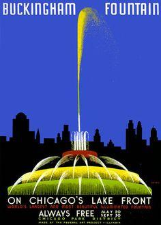 Buckingham Fountain and the Chicago skyline, circa 1939. John Buczak.
