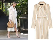 On March 20, 2016, Chrissy Teigen enjoyed lunch at a Bel Air hotel, wearing a The Row Stervis Belted Striped Jacquard Coat https://api.shopstyle.com/action/apiVisitRetailer?id=507653268&pid=uid7729-3100527-84. Interested in other items from this outfit? see http://www.celebstyle.us/chrissy-teigen/pregnancy-maternity-style-appreciation-post/ #style #celebstyle
