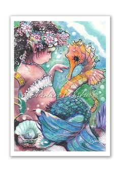 Little Mermaid and SeaHorse Print from Original by RubysBrush, $7.00