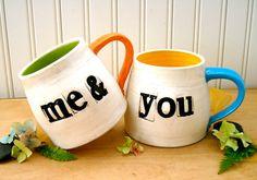 Me & You Coffee Mugs - Couples Mug SET - HandMade Wheel Thrown Pottery Tea, Espresso Cups - Letterpress Stamped Wedding Gift Wedding Mugs, Couple Mugs, Wheel Thrown Pottery, Network For Good, Tea Cup Set, Espresso Cups, Ceramic Clay, Mugs Set, Letterpress