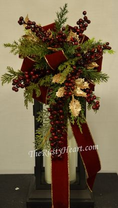 Christmas Lantern Swag with Gold Holly by TheRustyHeart on Etsy