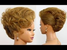 French twist hairstyle for long medium hair. Bridal updo - YouTube